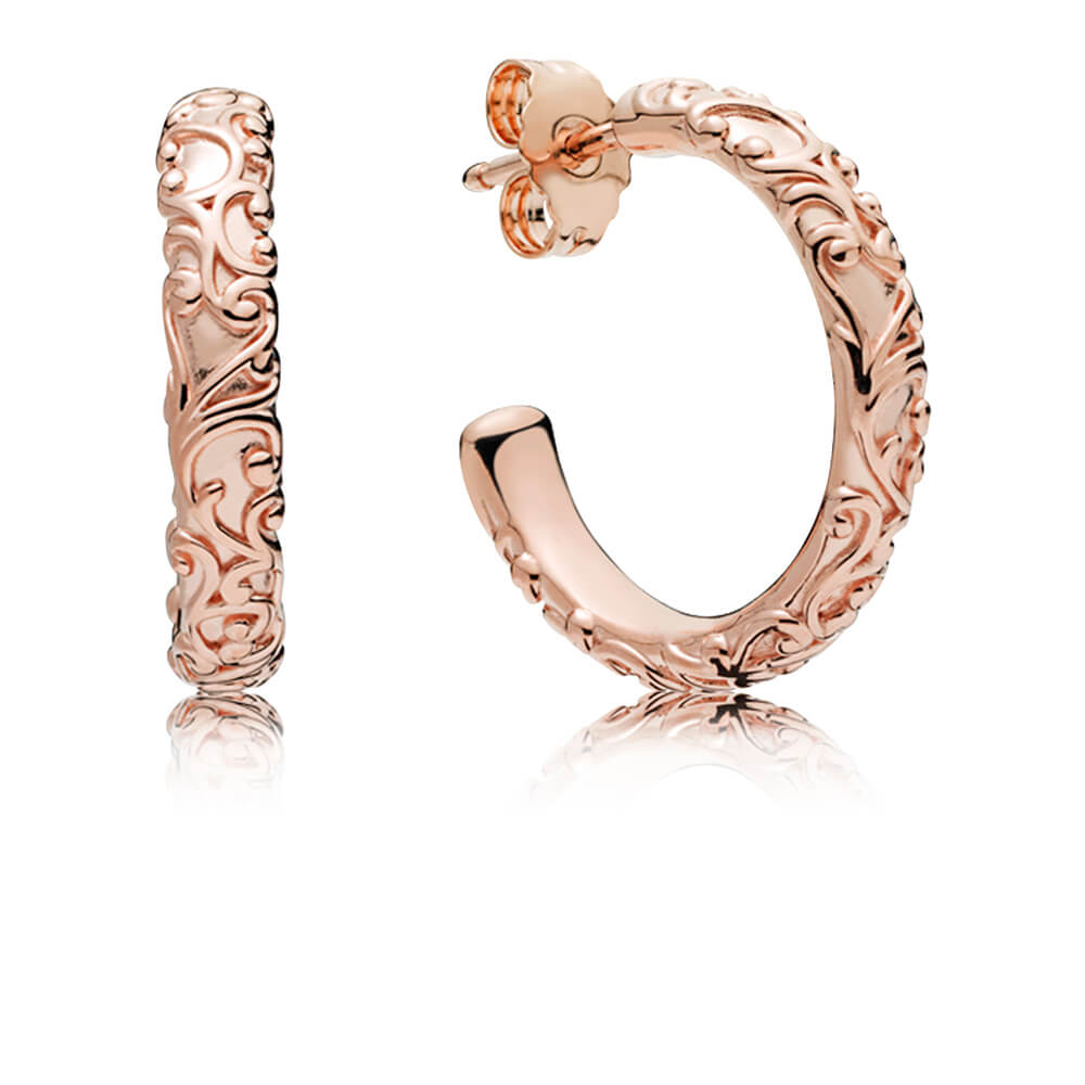 Regal Beauty Hoop Earrings, PANDORA Rose™