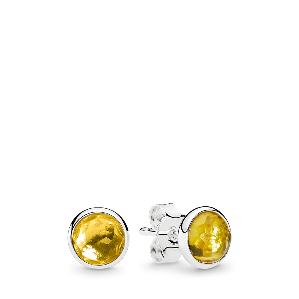 November Droplets Stud Earrings, Citrine, Sterling silver, Yellow, Citrine - PANDORA - #290738CI