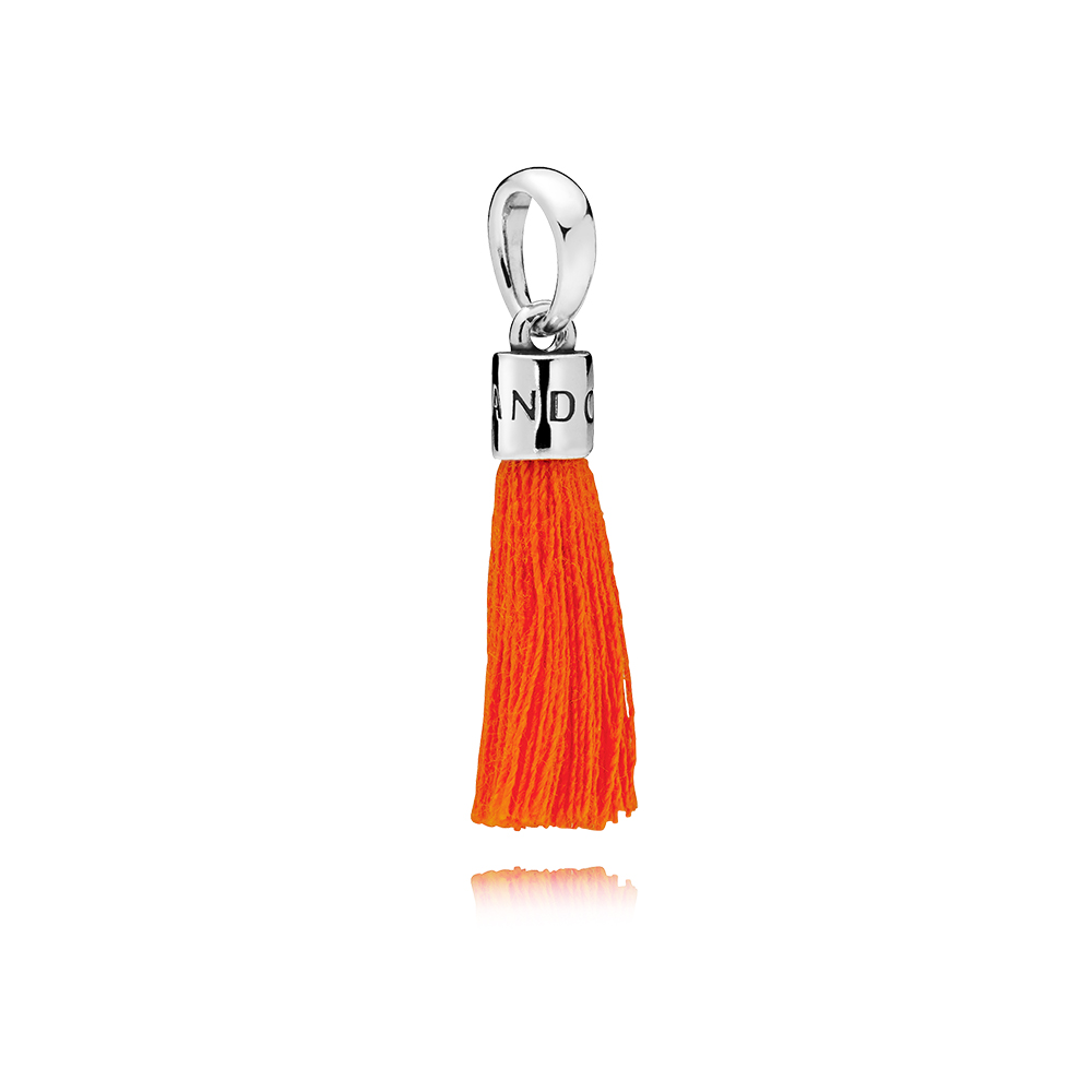 Orange Fabric Tassel Dangle Charm