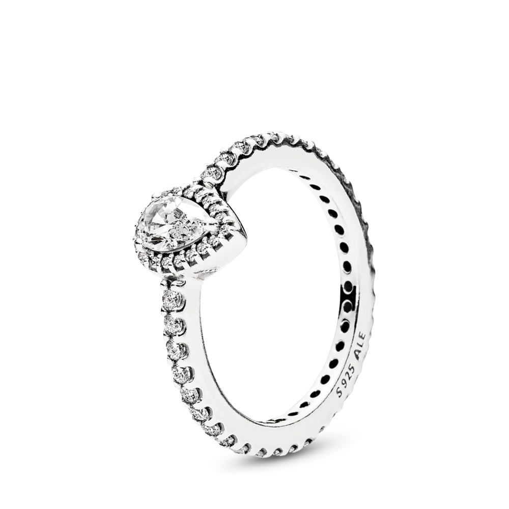 Radiant Teardrop Ring, Clear CZ, Sterling silver, Cubic Zirconia - PANDORA - #196254CZ
