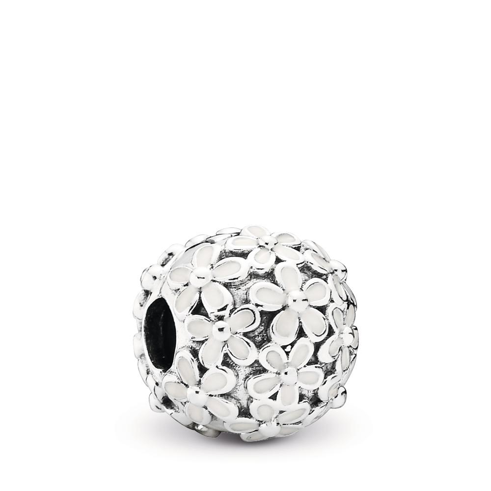 Darling Daisy Meadow Clip, White Enamel, Sterling silver, Enamel - PANDORA - #791494EN12