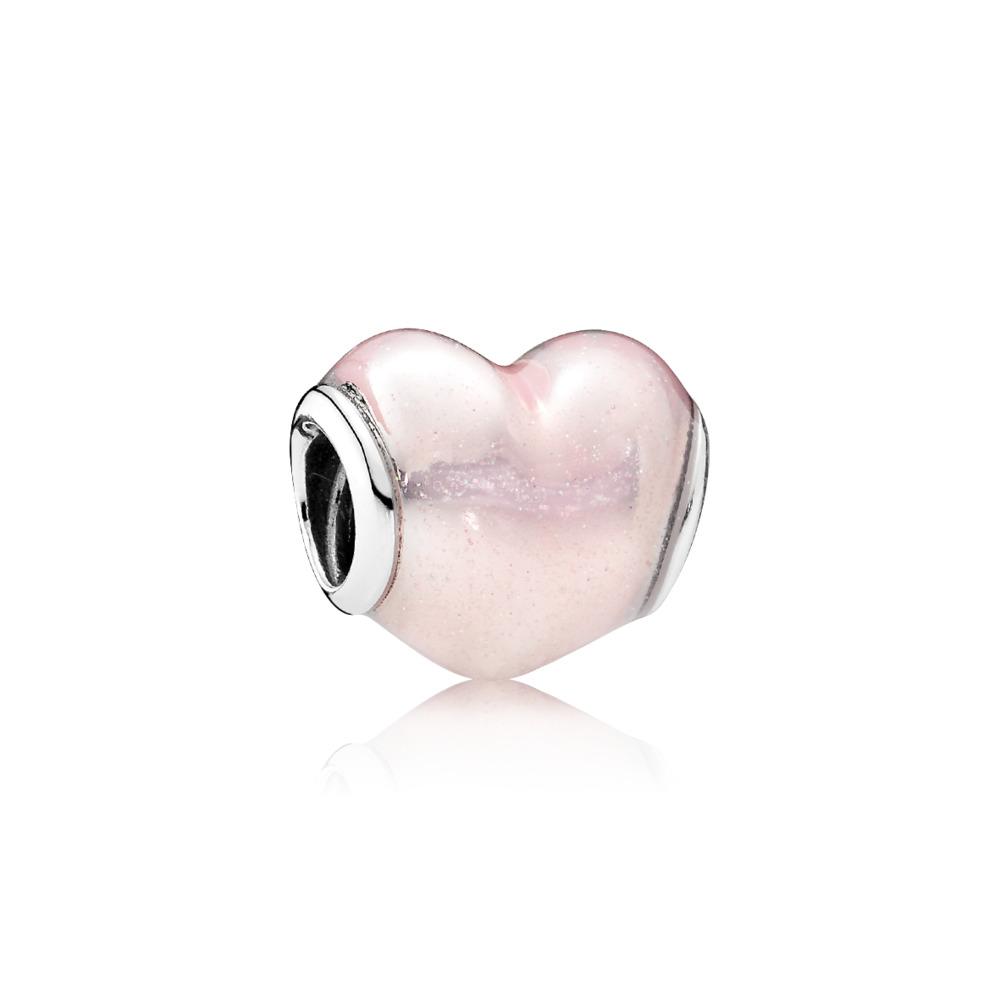 Glittering Heart Charm, Soft Pink Enamel, Sterling silver, Enamel, Pink - PANDORA - #791886EN113