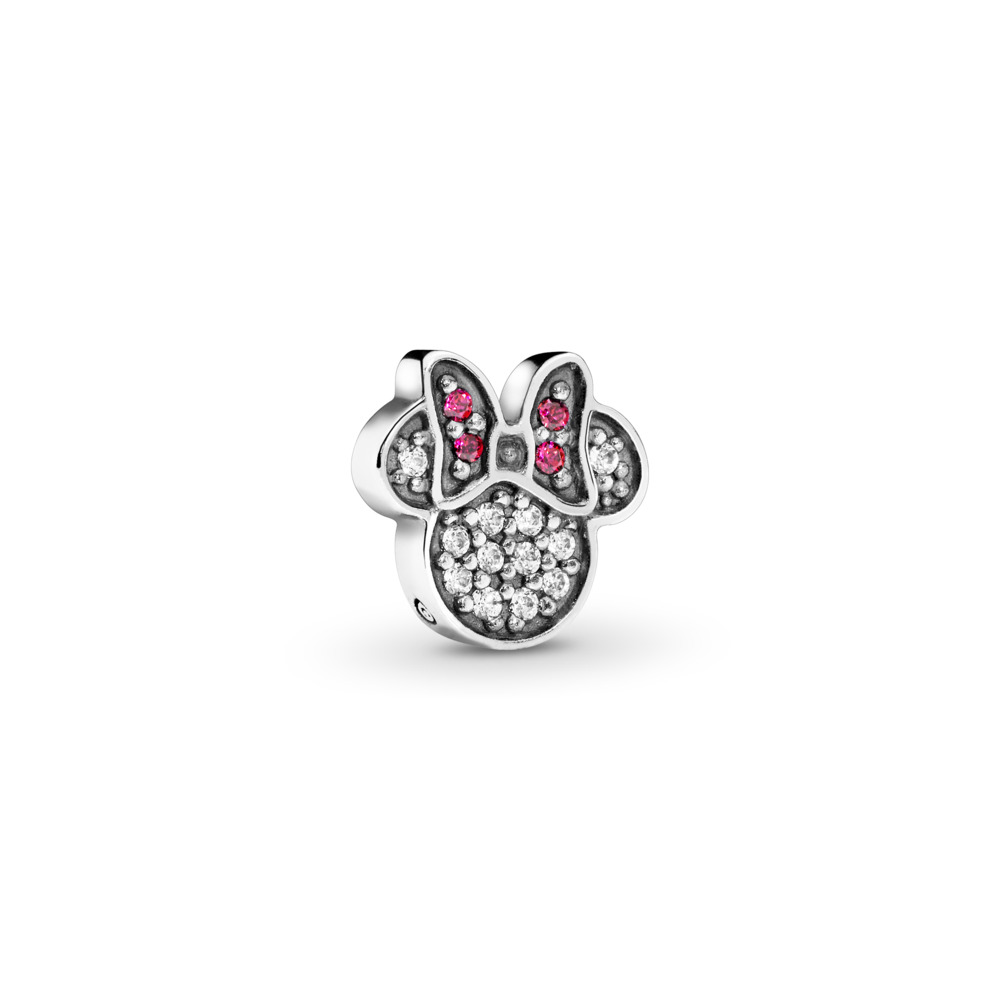 Disney, Sparkling Minnie Icon Petite Locket Charm, Red & Clear CZ, Sterling silver, Red, Cubic Zirconia - PANDORA - #796346CZ