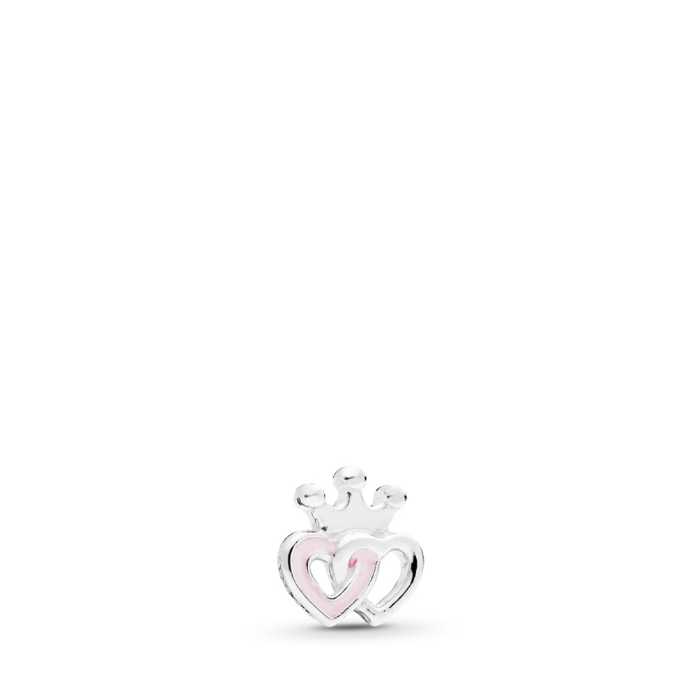 Crowned Heart Petite Locket Charm, Sterling silver, Enamel - PANDORA - #792160EN40