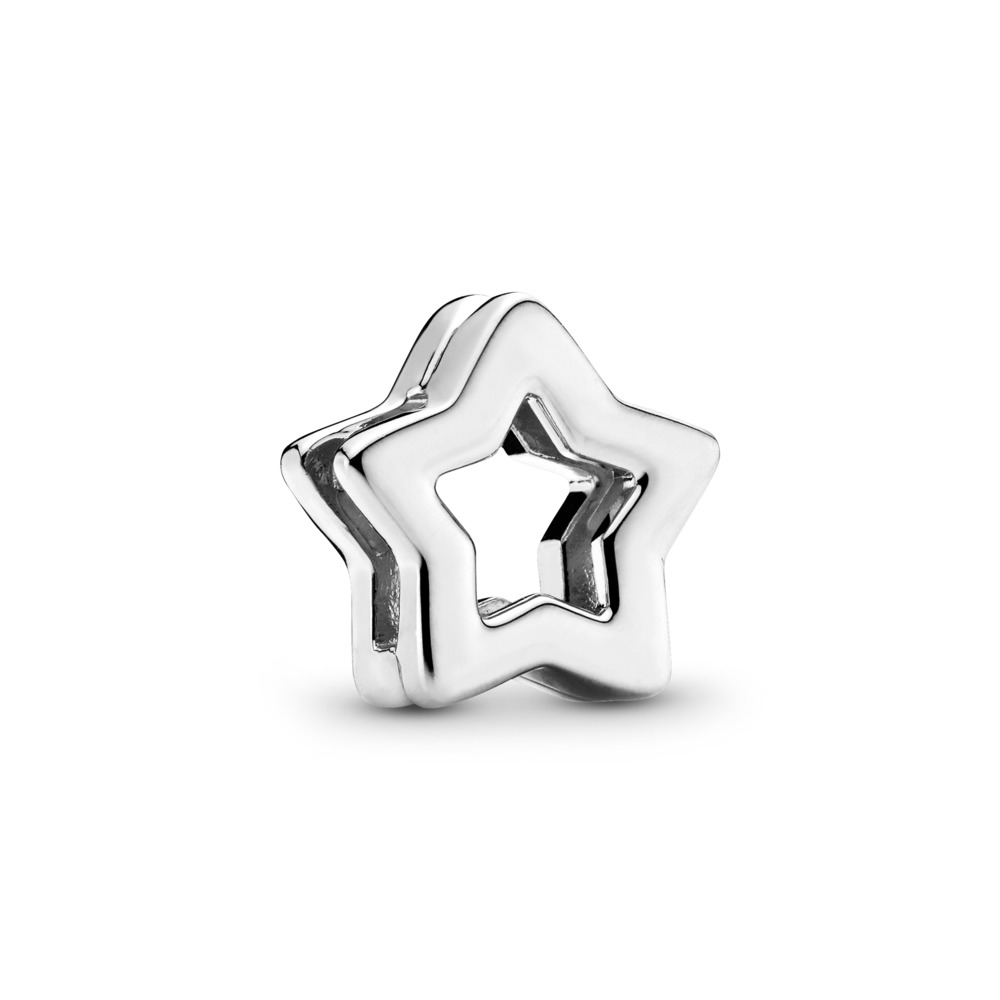 PANDORA REFLEXIONS™ Sleek Star Clip Charm, Sterling silver, Silicone - PANDORA - #797544