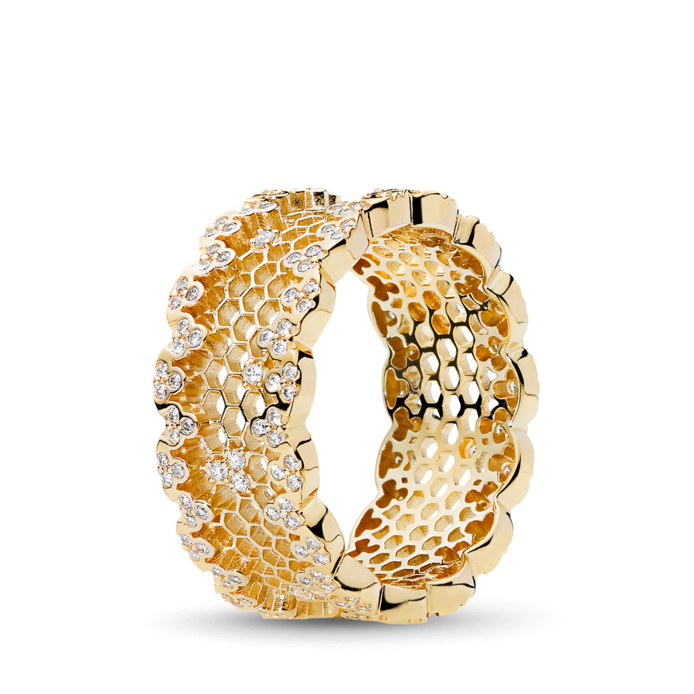 Honeycomb Lace Ring, PANDORA Shine™ & Clear CZ, 18ct Gold Plated, Cubic Zirconia - PANDORA - #167100CZ