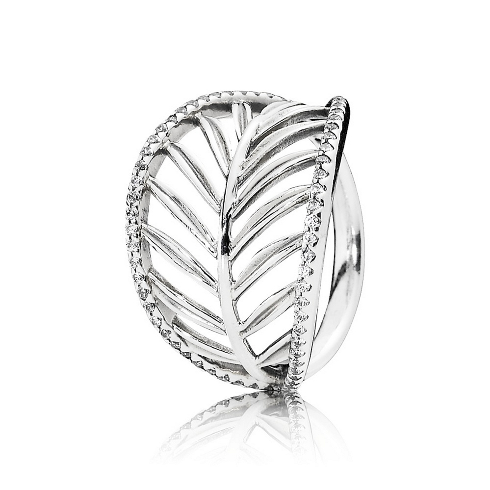 Tropical Palm Leaf Ring, Clear CZ
