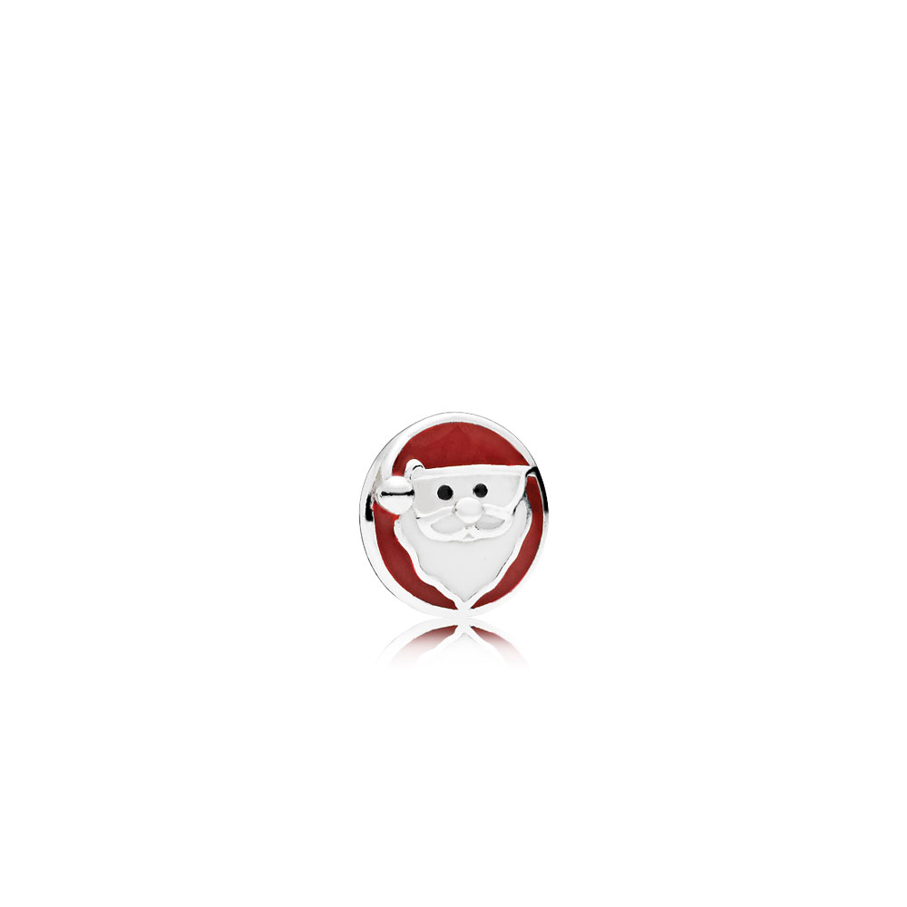 Jolly Santa Petite Locket Charm, Mixed Enamel