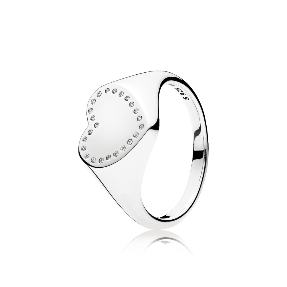 Heart Signet Ring, Clear CZ, Sterling silver, Cubic Zirconia - PANDORA - #191042CZ