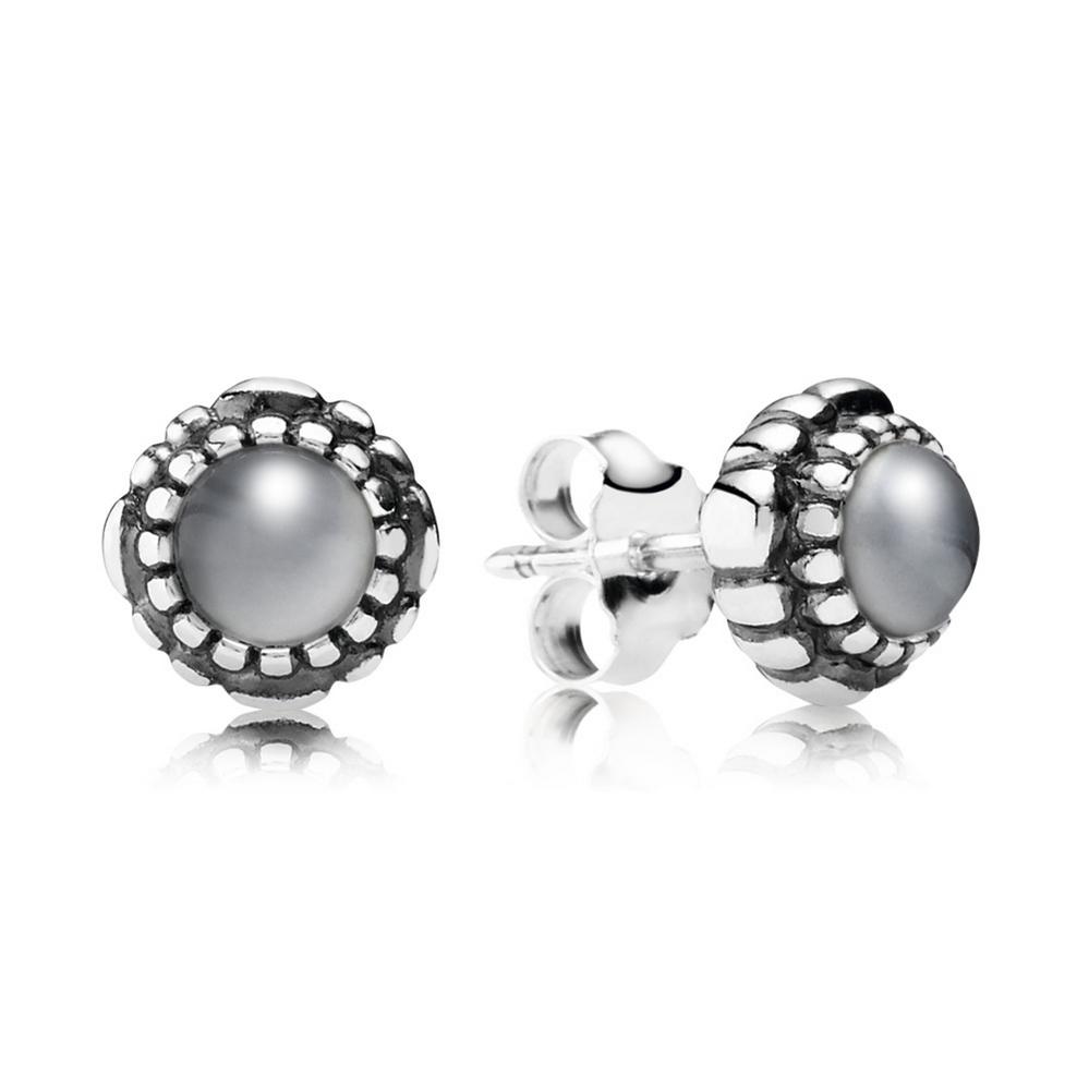 Birthday Blooms Stud Earrings, June, Grey Moonstone