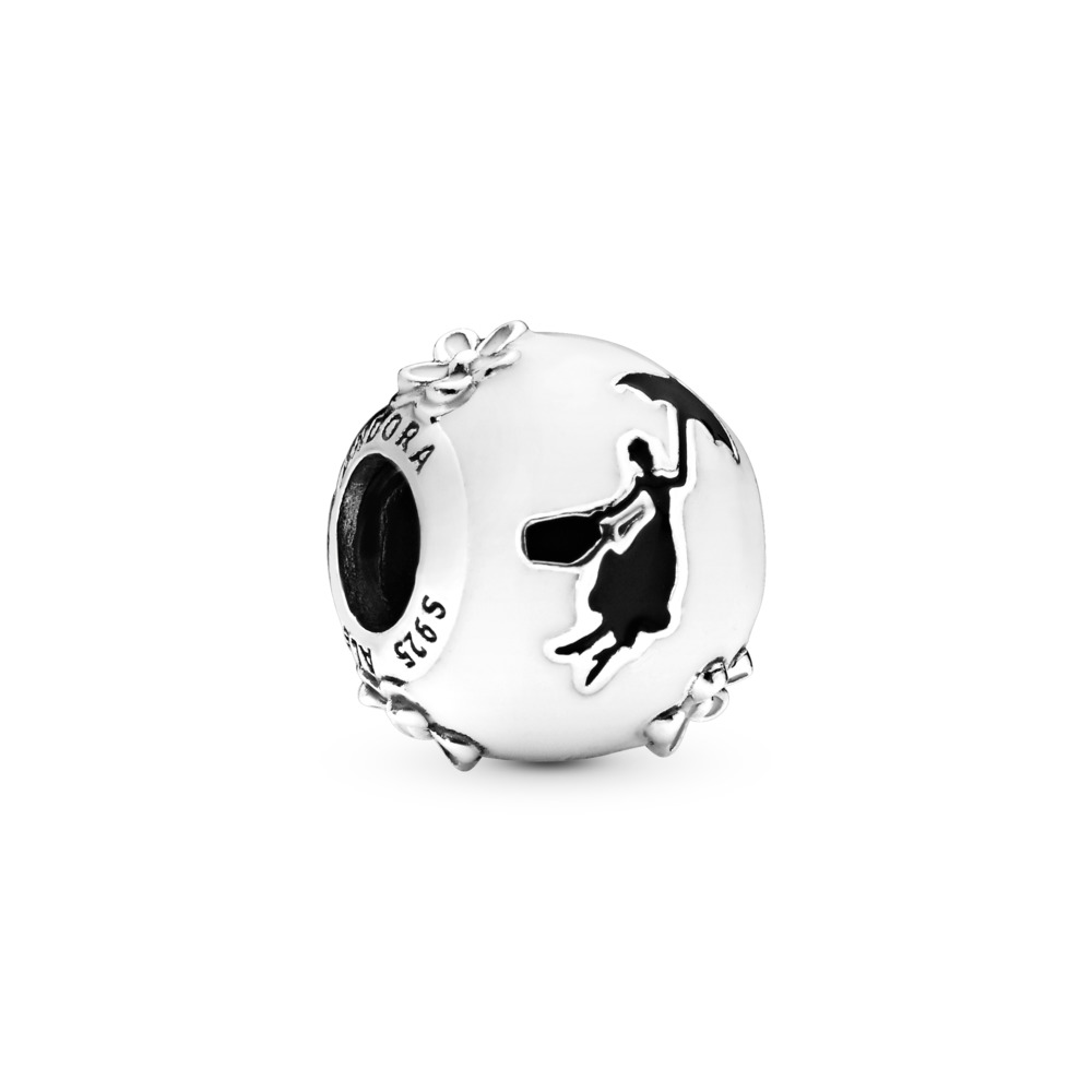 Disney, Mary Poppins' Silhouette Charm, White & Black Enamel, Sterling silver, Enamel, Black - PANDORA - #797510ENMX