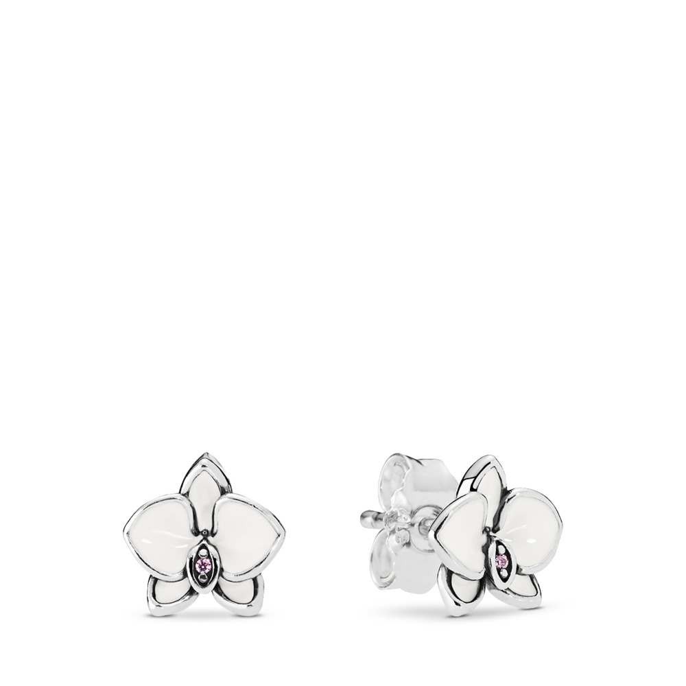 Orchid Stud Earrings, White Enamel & Clear CZ, Sterling silver, Enamel, Pink, Cubic Zirconia - PANDORA - #290749EN12