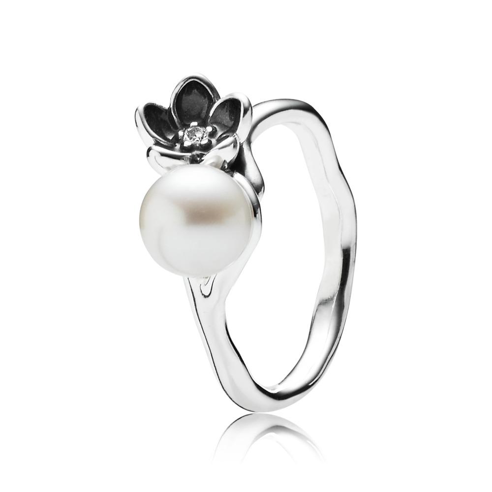 Mystic Floral Ring, Pearl & Black Enamel, Sterling silver, Enamel, Mixed stones - PANDORA - #190924P