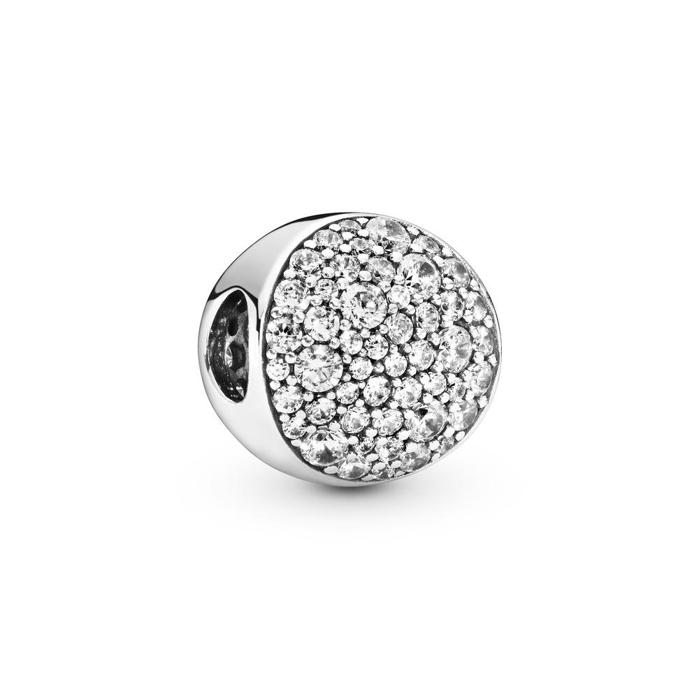 Pavé Sphere Charm, Clear CZ, Sterling silver, Cubic Zirconia - PANDORA - #797540CZ
