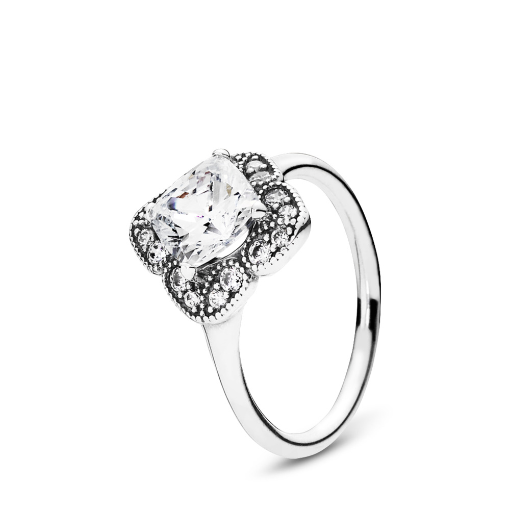 Crystalized Floral Fancy Ring, Clear CZ, Sterling silver, Cubic Zirconia - PANDORA - #190966CZ