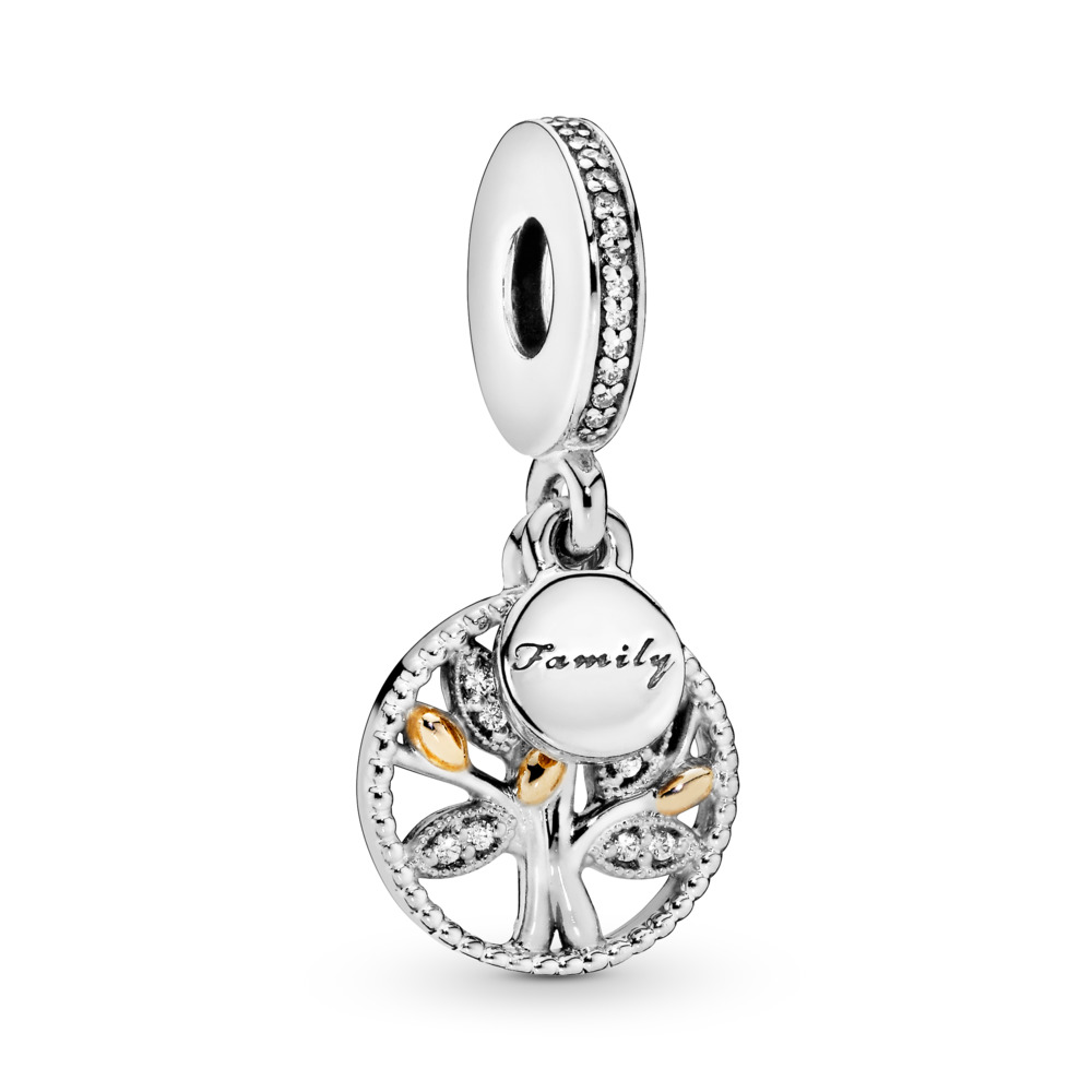 Family Heritage Dangle Charm, Clear CZ, Two Tone, Cubic Zirconia - PANDORA - #791728CZ