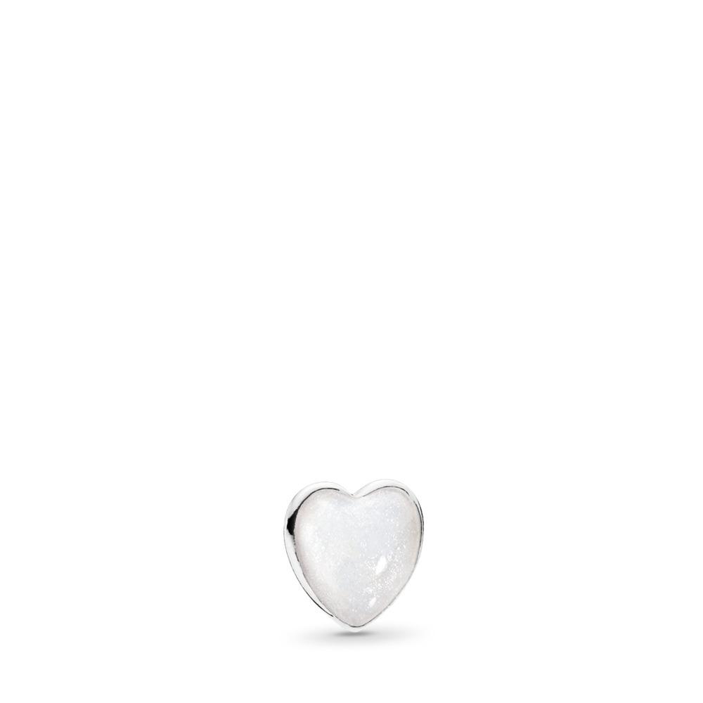 Pearlescent Heart Petite Locket Charm, Sterling silver, Enamel - PANDORA - #792169EN23