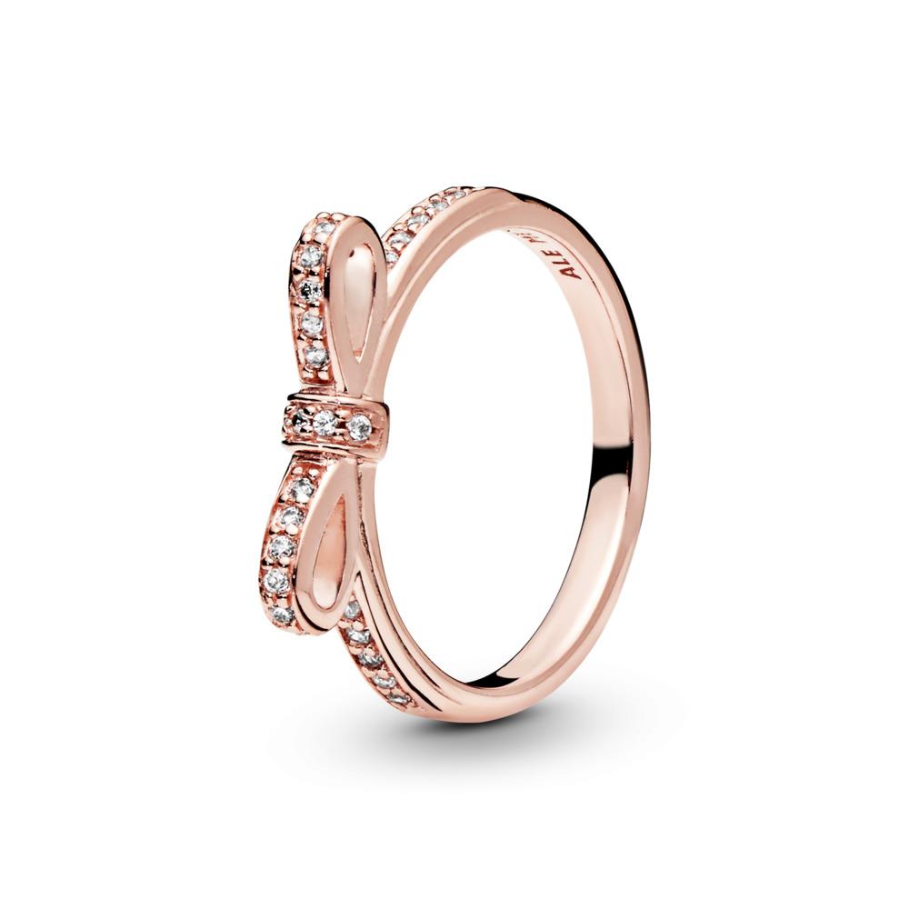 Sparkling Bow Ring, PANDORA Rose™ & Clear CZ, PANDORA Rose, Cubic Zirconia - PANDORA - #180906CZ