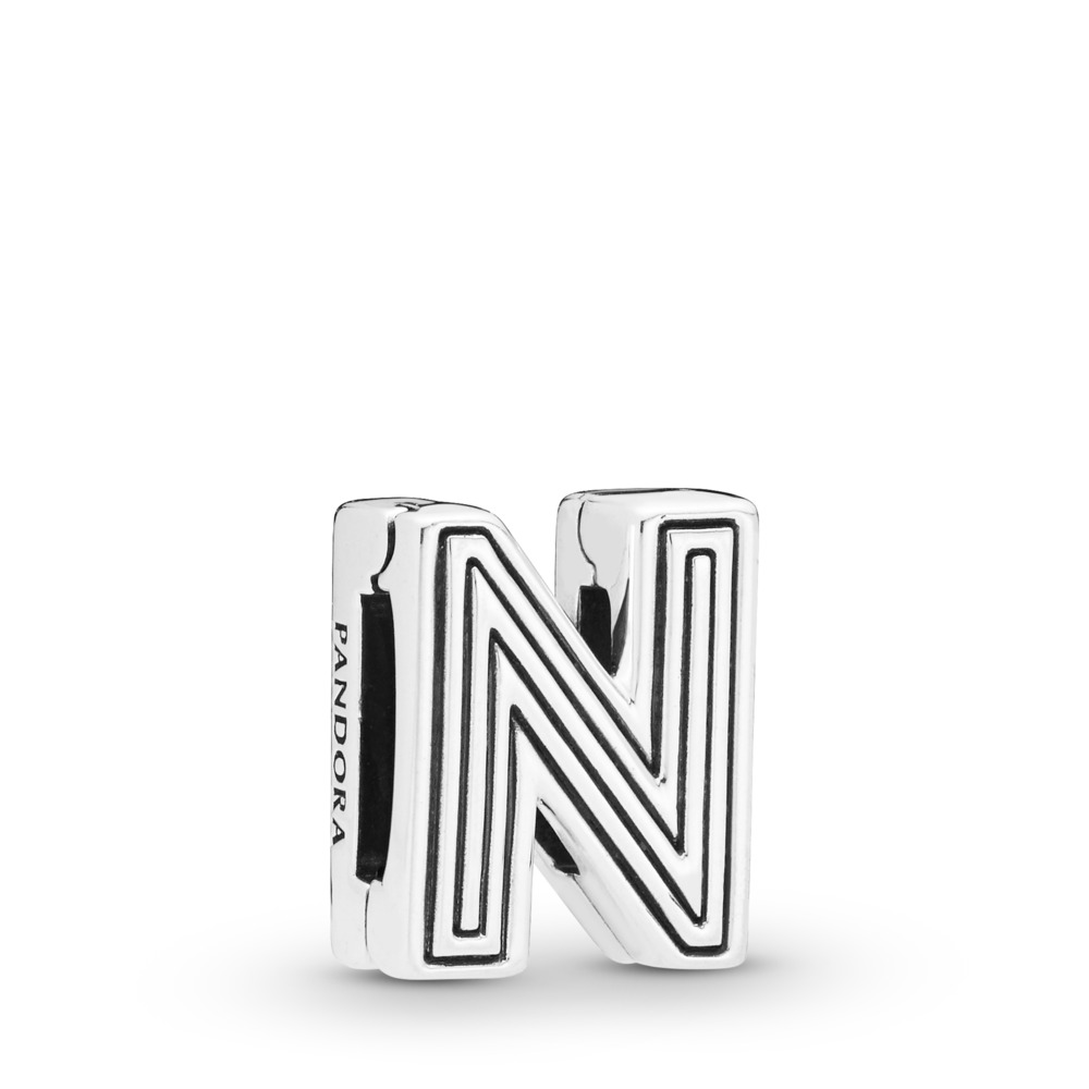 Pandora Reflexions™ Letter N Clip Charm, Sterling silver, Silicone - PANDORA - #798210