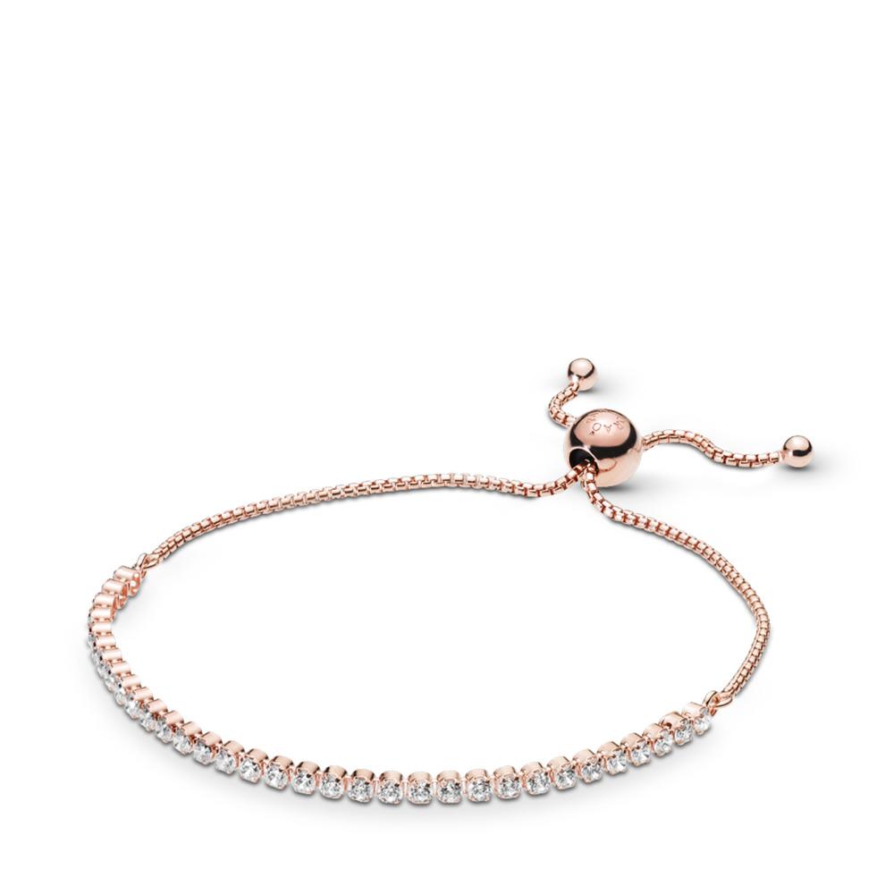 Sparkling Strand Bracelet, PANDORA Rose™ & Clear CZ, PANDORA Rose, Silicone, Cubic Zirconia - PANDORA - #580524CZ