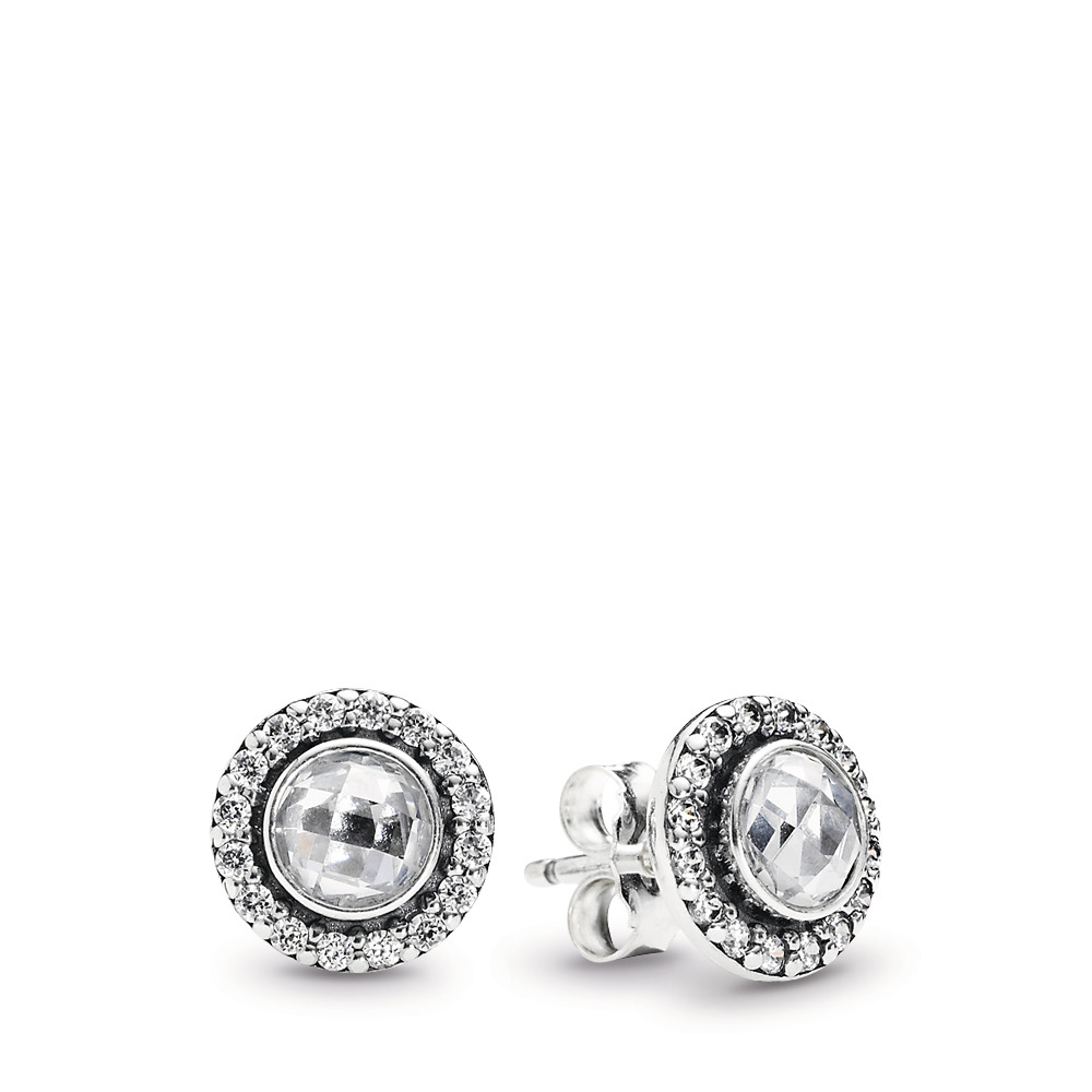 d6e651672 Brilliant Legacy Stud Earrings, Clear CZ, Sterling silver, Cubic Zirconia -  PANDORA -