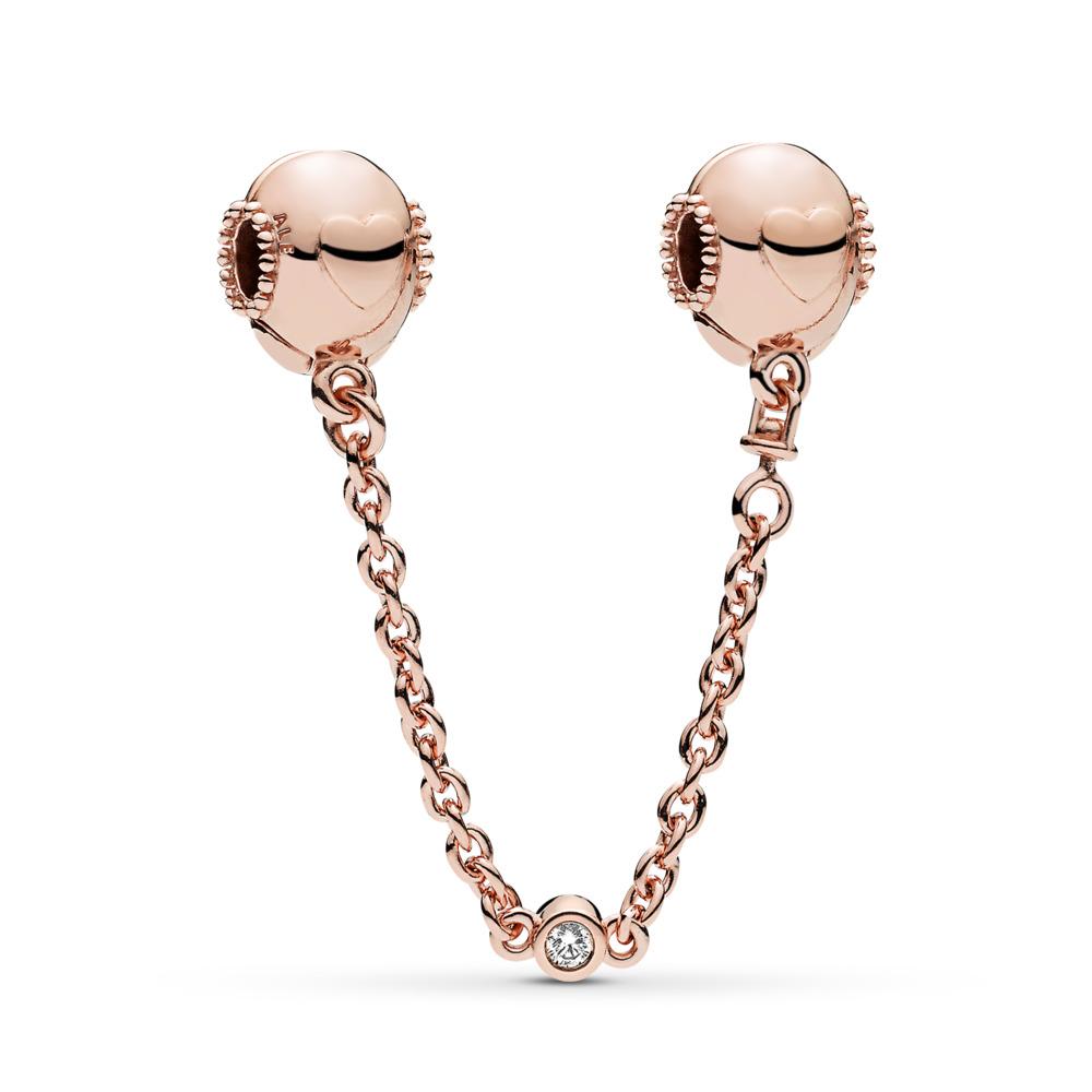 Embossed Hearts Safety Chain, PANDORA Rose™ & Clear CZ, PANDORA Rose, Silicone, Cubic Zirconia - PANDORA - #787636CZ
