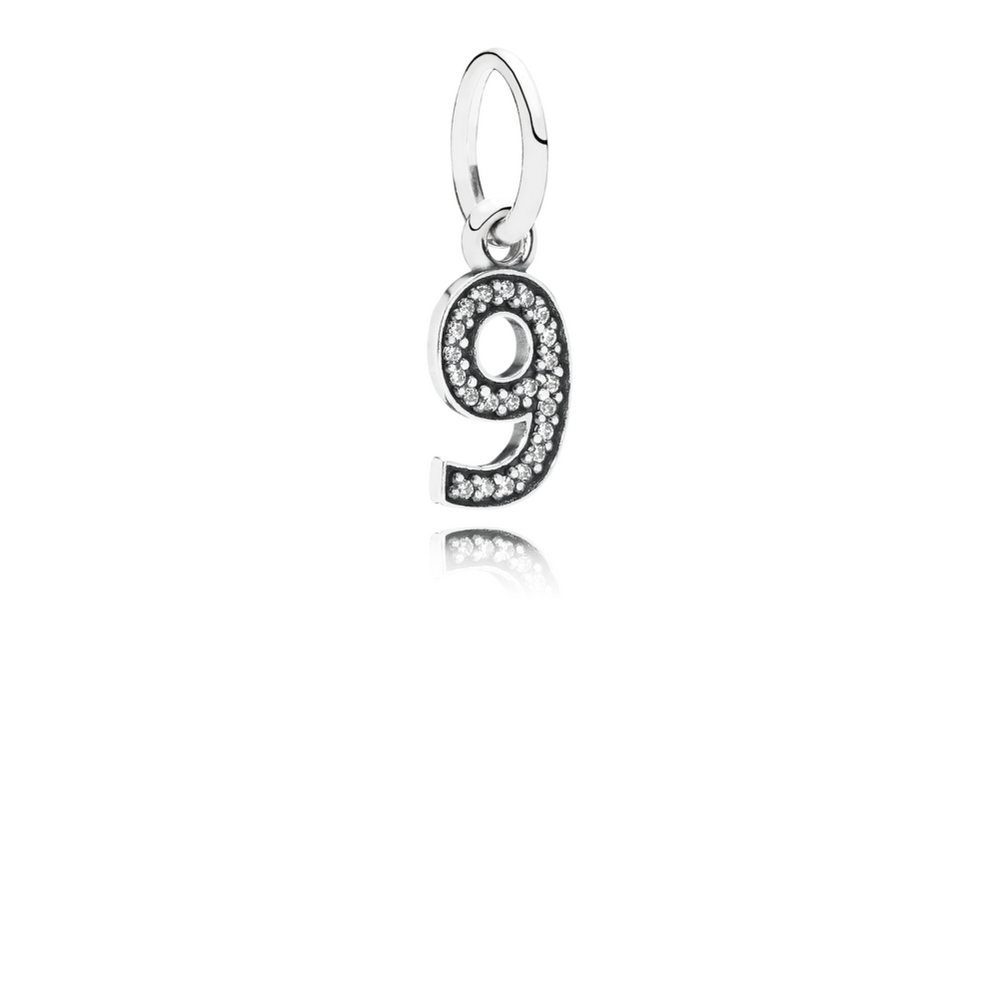 Number 9 Dangle Charm, Clear CZ