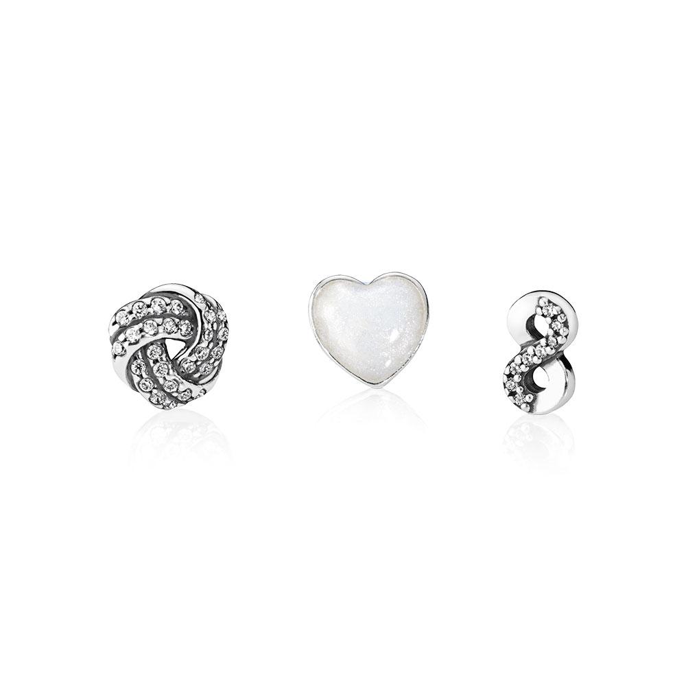 Infinite Love Petite Locket Charms, Silver Enamel & Clear CZ
