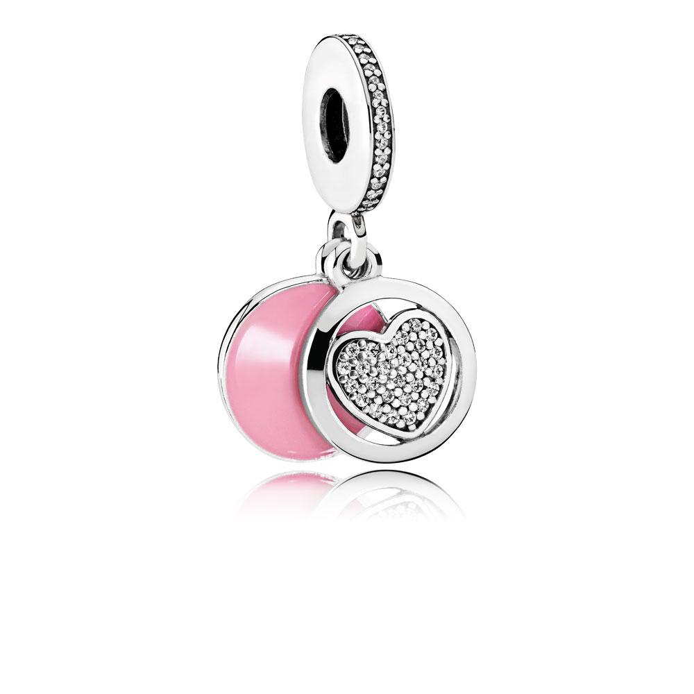 Devoted Heart Dangle Charm, Pink Enamel & Clear CZ