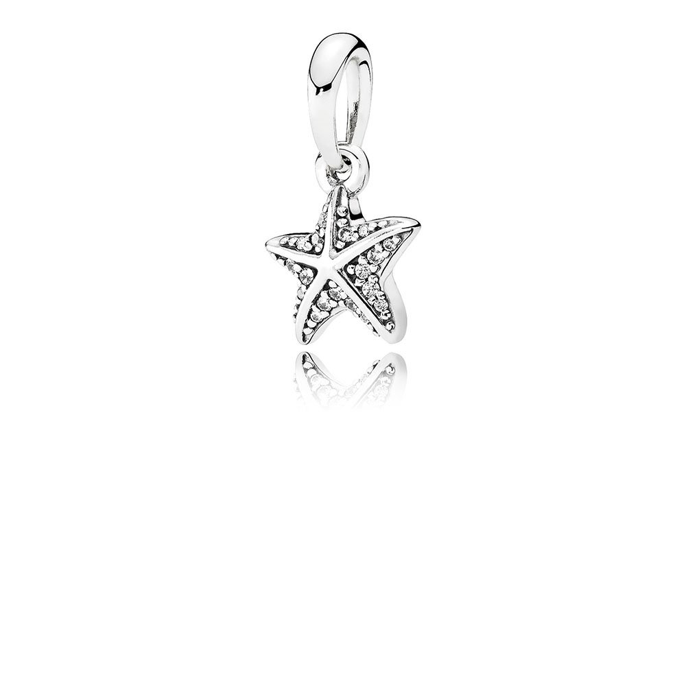 Tropical Starfish Pendant, Clear CZ