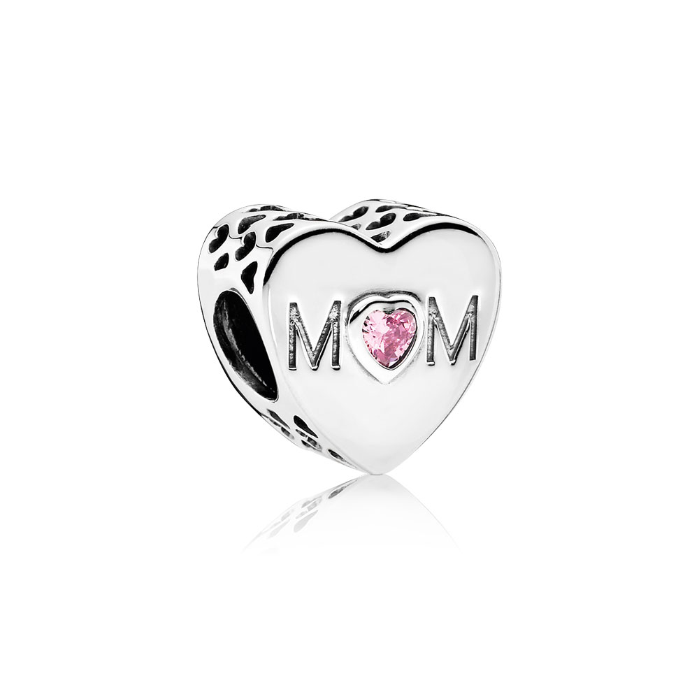 Mother Heart Charm, Pink CZ