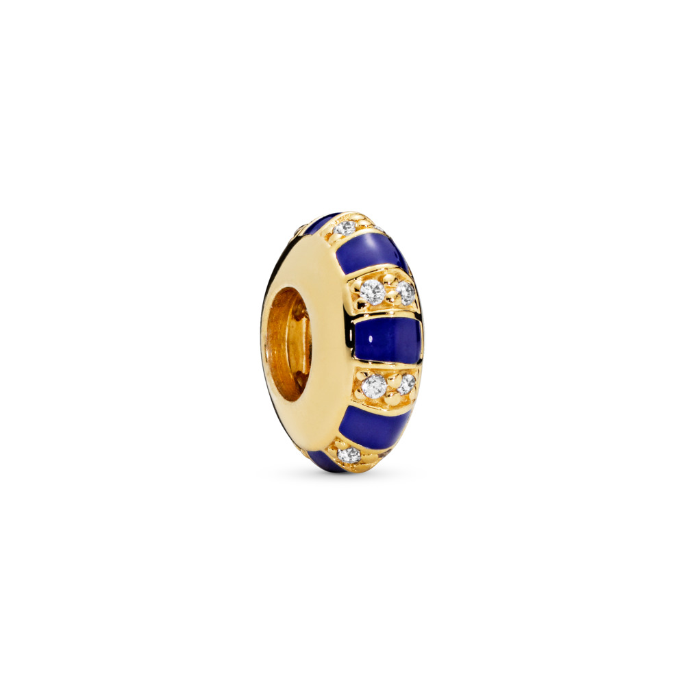 Exotic Stones & Stripes Spacer, Pandora Shine™, 18ct Gold Plated, Enamel, Blue, Cubic Zirconia - PANDORA - #768029CZ