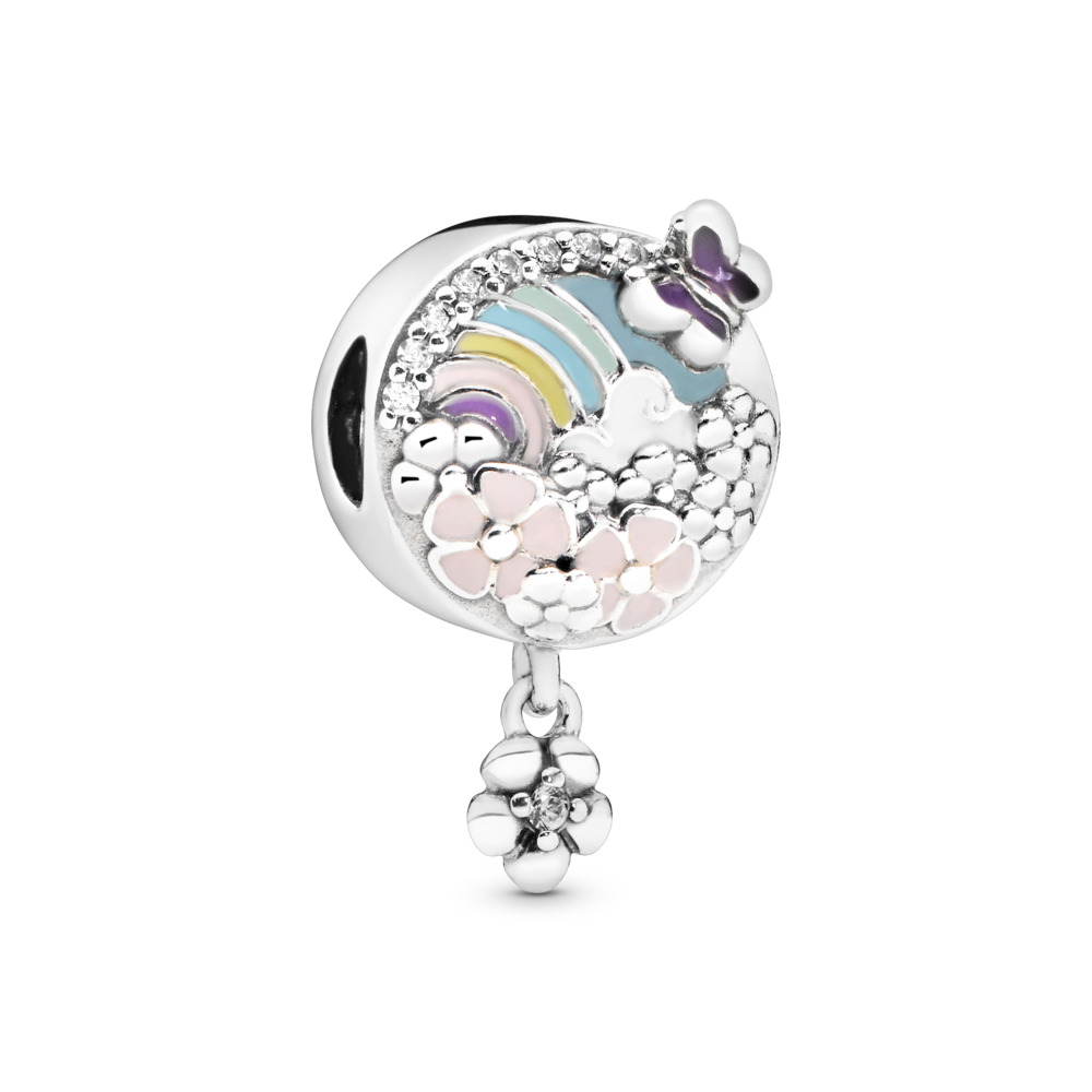 Flower Color Story Charm, Sterling silver, Enamel, Blue, Cubic Zirconia - PANDORA - #797999ENMX