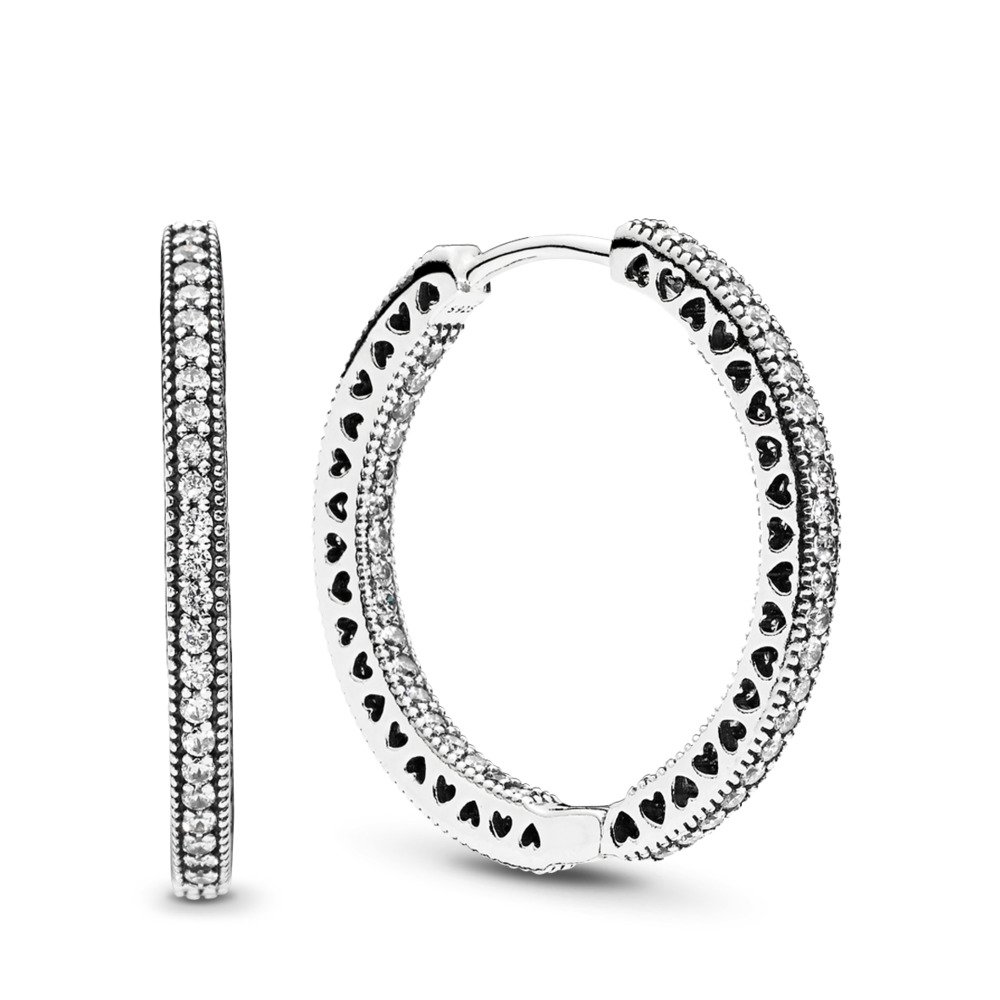 Hearts of PANDORA Hoop Earrings, Clear CZ, Sterling silver, Cubic Zirconia - PANDORA - #296319CZ