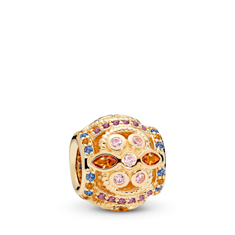 Color Fresco Charm, 14K Gold & Multi-Colored Crystals & Pink CZ, Yellow Gold 14 k, Blue, Mixed stones - PANDORA - #756225PCZMX