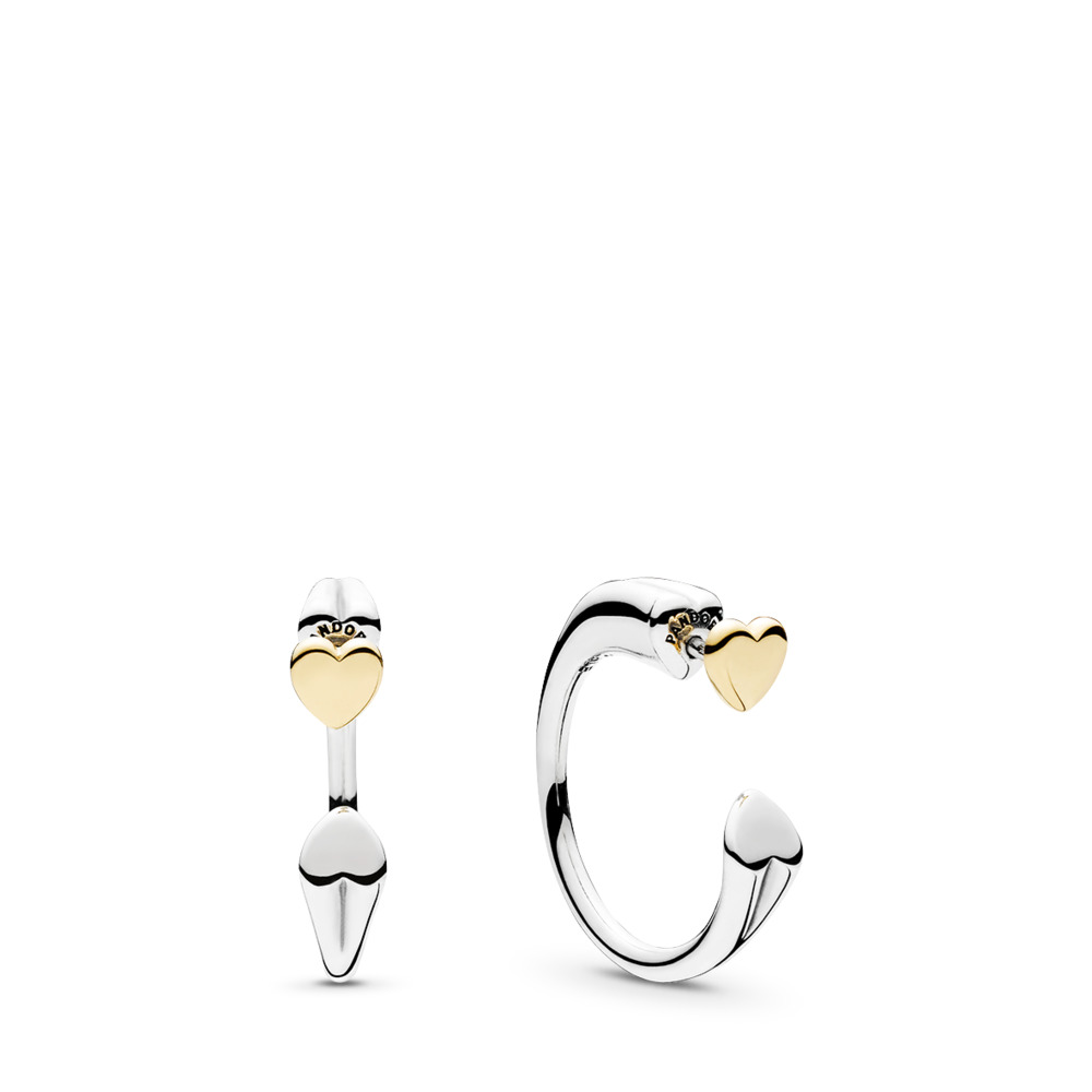 Two Hearts Hoop Earrings, Two Tone - PANDORA - #296576