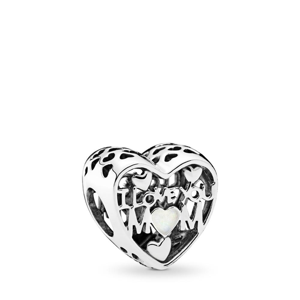 Love for Mother Charm, Silver Enamel, Sterling silver, Enamel, White - PANDORA - #792067EN23