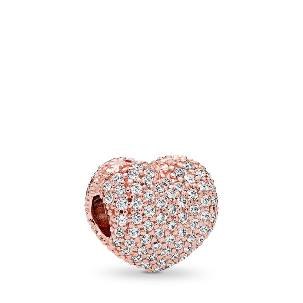 Pavé Open My Heart Clip, PANDORA Rose™ & Clear CZ, PANDORA Rose, Cubic Zirconia - PANDORA - #781427CZ