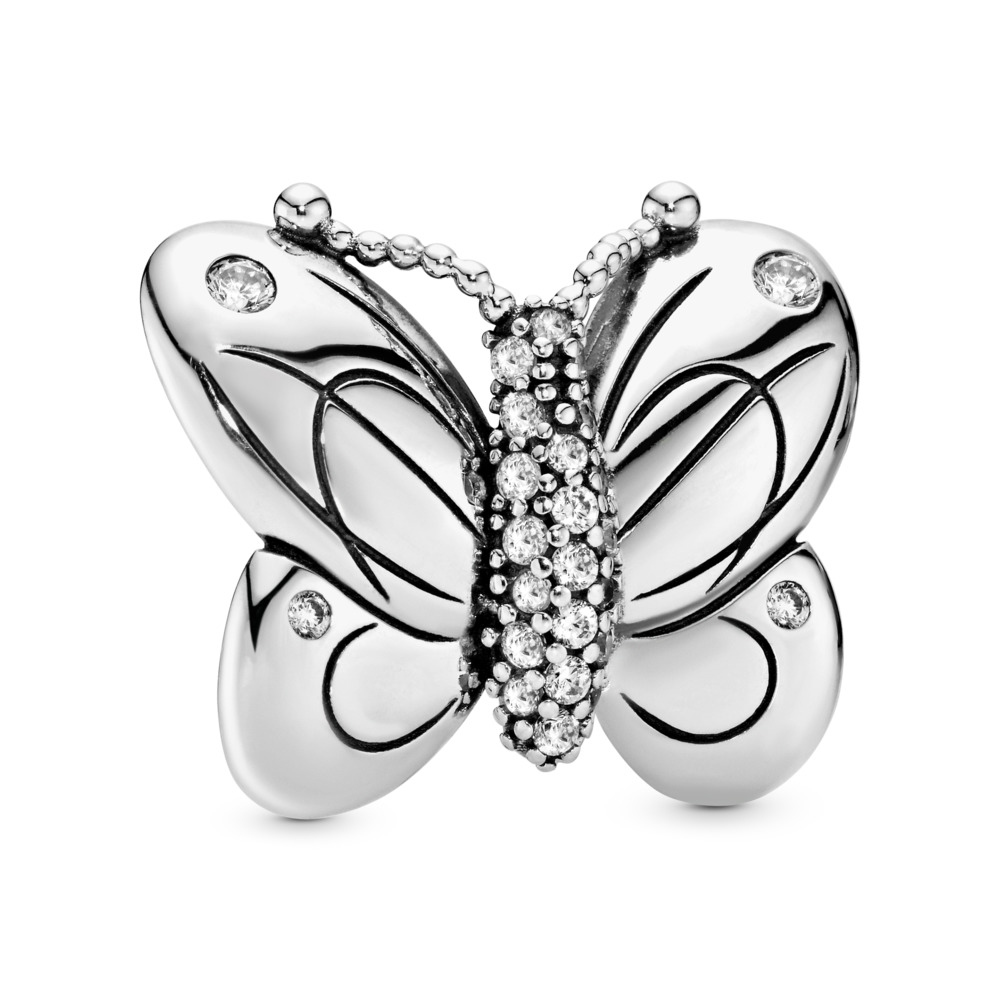 Decorative Butterfly Charm, Sterling silver, Cubic Zirconia - PANDORA - #797880CZ