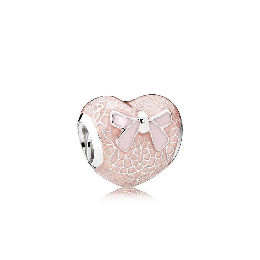 Pink Bow & Lace Heart Charm, Transparent Misty Rose & Soft Pink Enamel