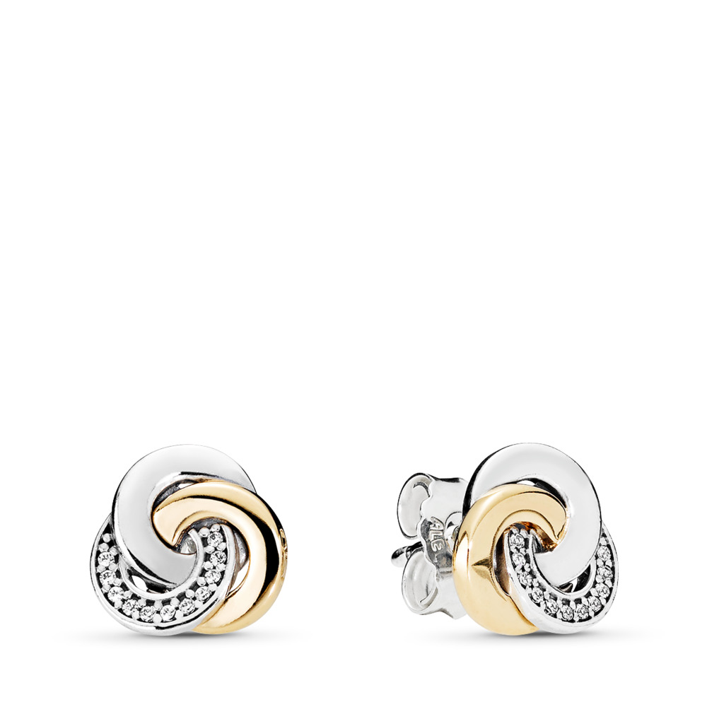 Interlinked Circles Stud Earrings, Clear CZ, Two Tone, Cubic Zirconia - PANDORA - #290741CZ