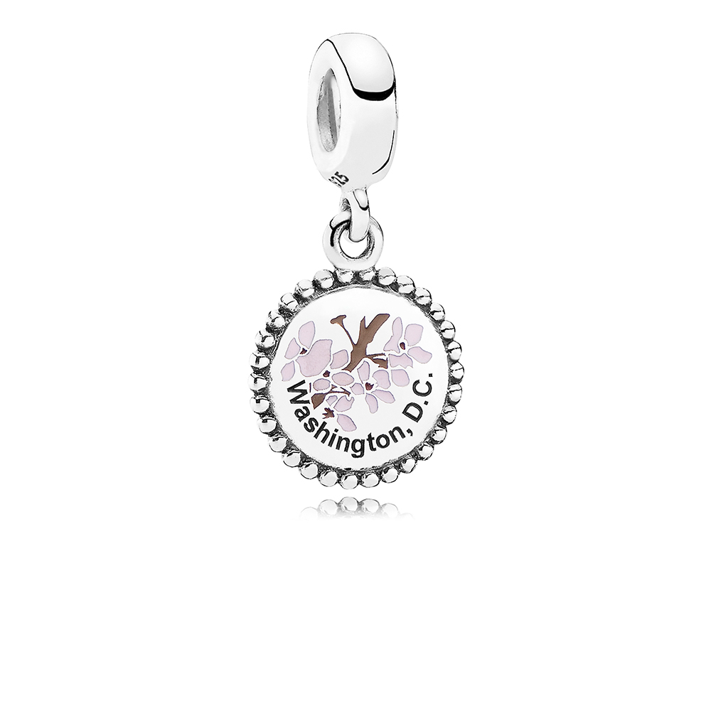Washington, D.C. Cherry Blossom Dangle Charm, Mixed Enamel, Sterling silver - PANDORA - #ENG791169_12