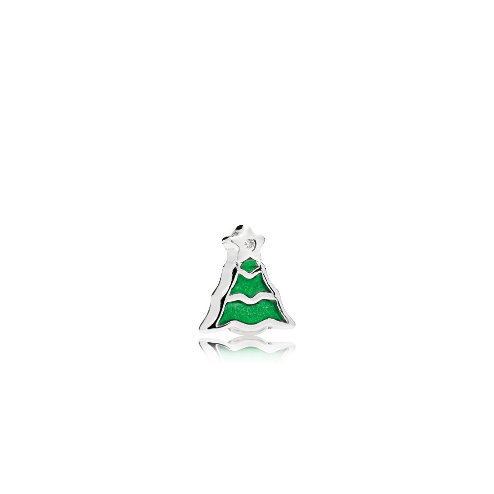 Christmas Tree Petite Locket Charm, Green Enamel & Clear CZ
