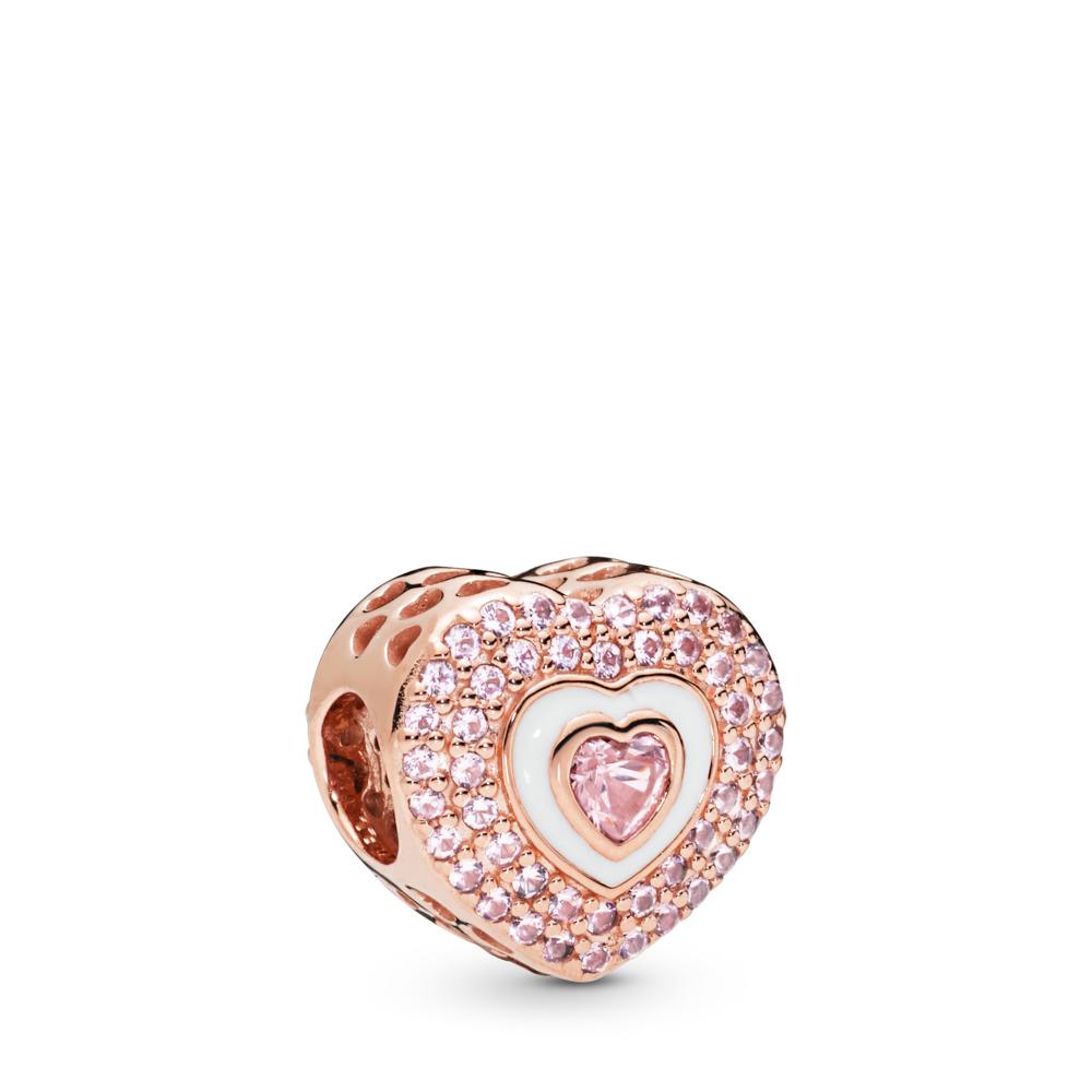 9b3501c84 Hearts on Hearts Charm, PANDORA Rose, Enamel, Pink, Crystal - PANDORA -