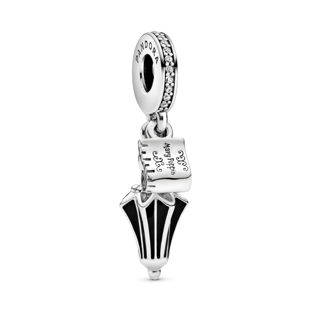 Disney, Mary Poppins' Umbrella Dangle Charm, Clear CZ & Black Enamel, Sterling silver, Enamel, Black, Cubic Zirconia - PANDORA - #797507CZ