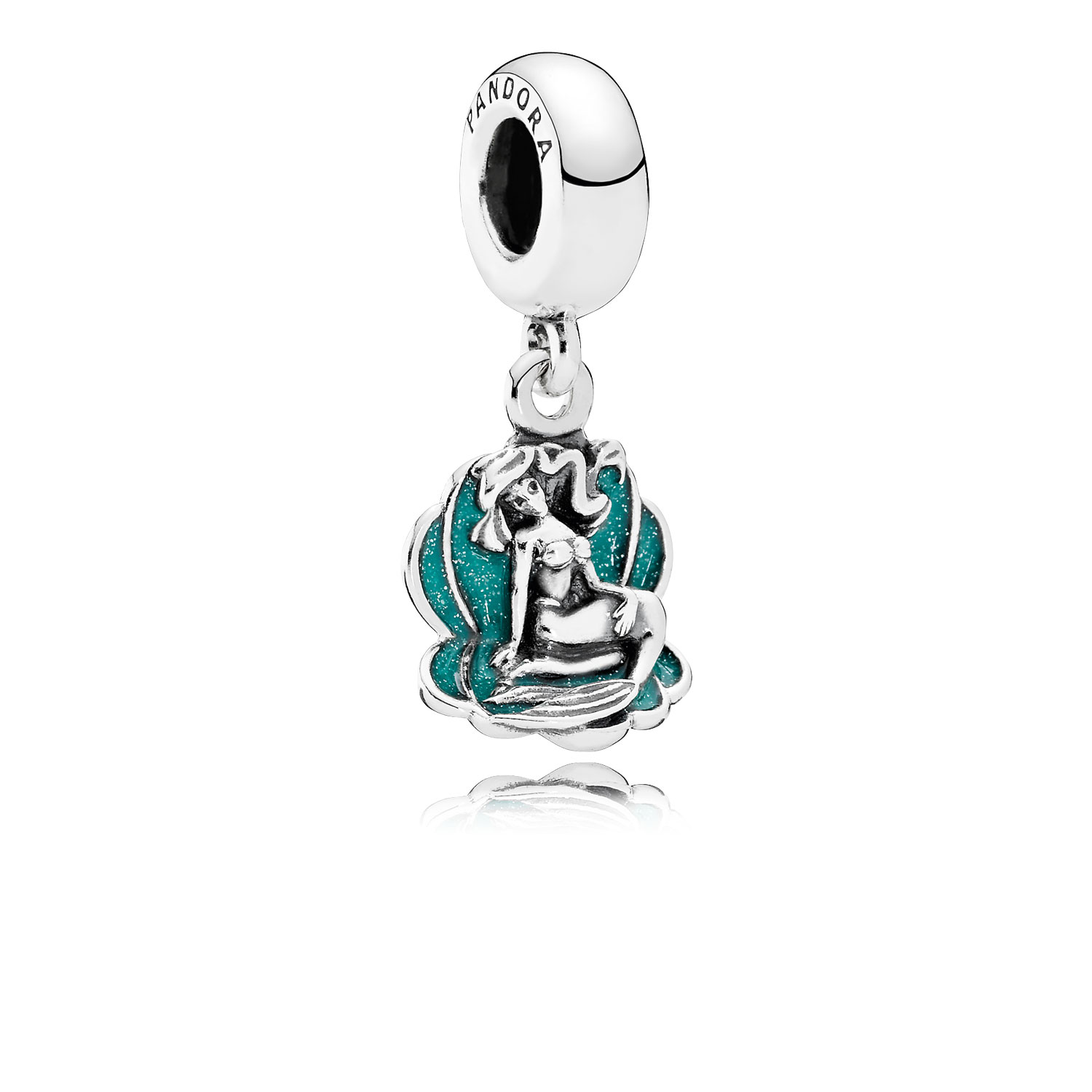 Disney, Ariel & Sea Shell Dangle Charm, Glittery Seafoam Green Enamel