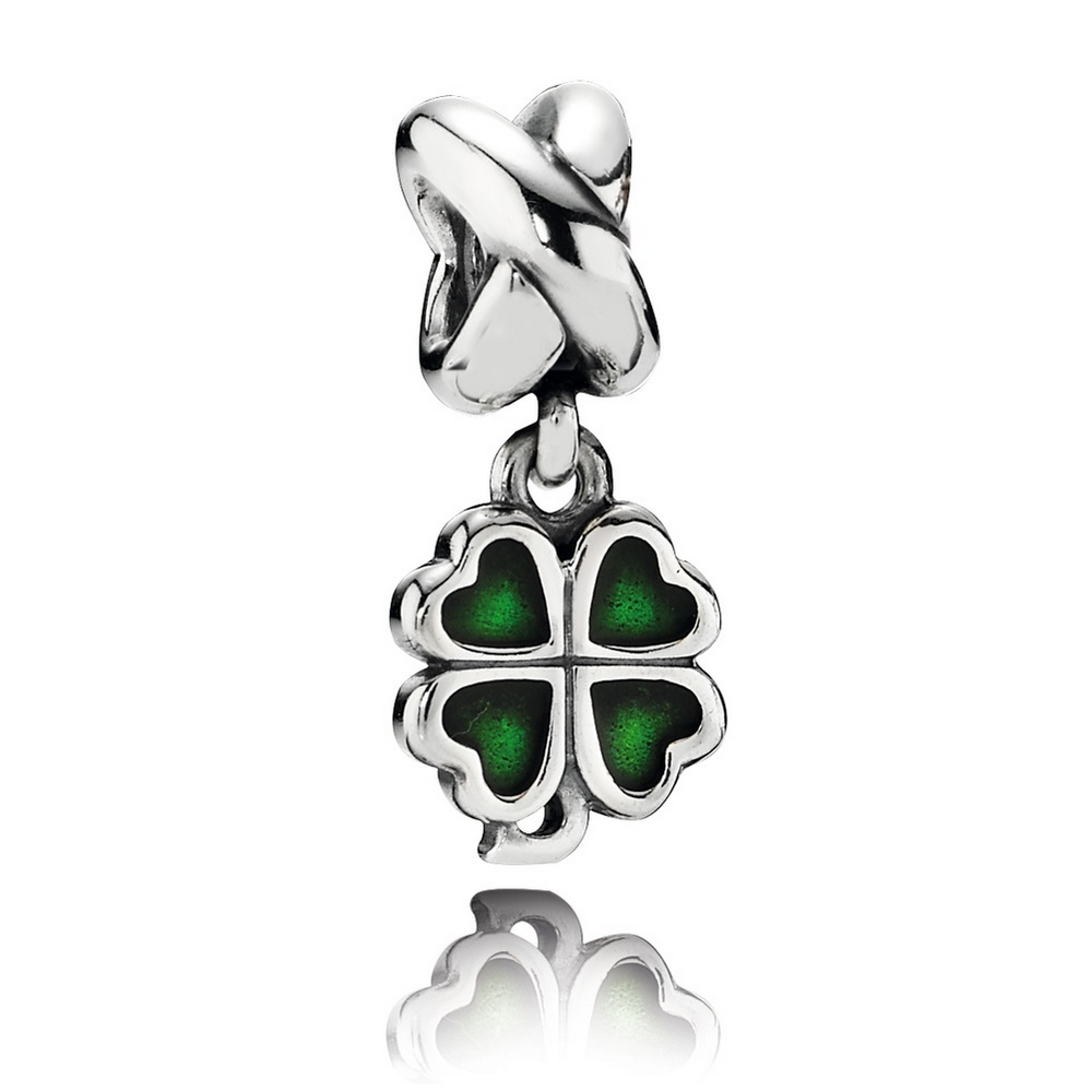 Four-Leaf Clover Dangle Charm, Green Enamel