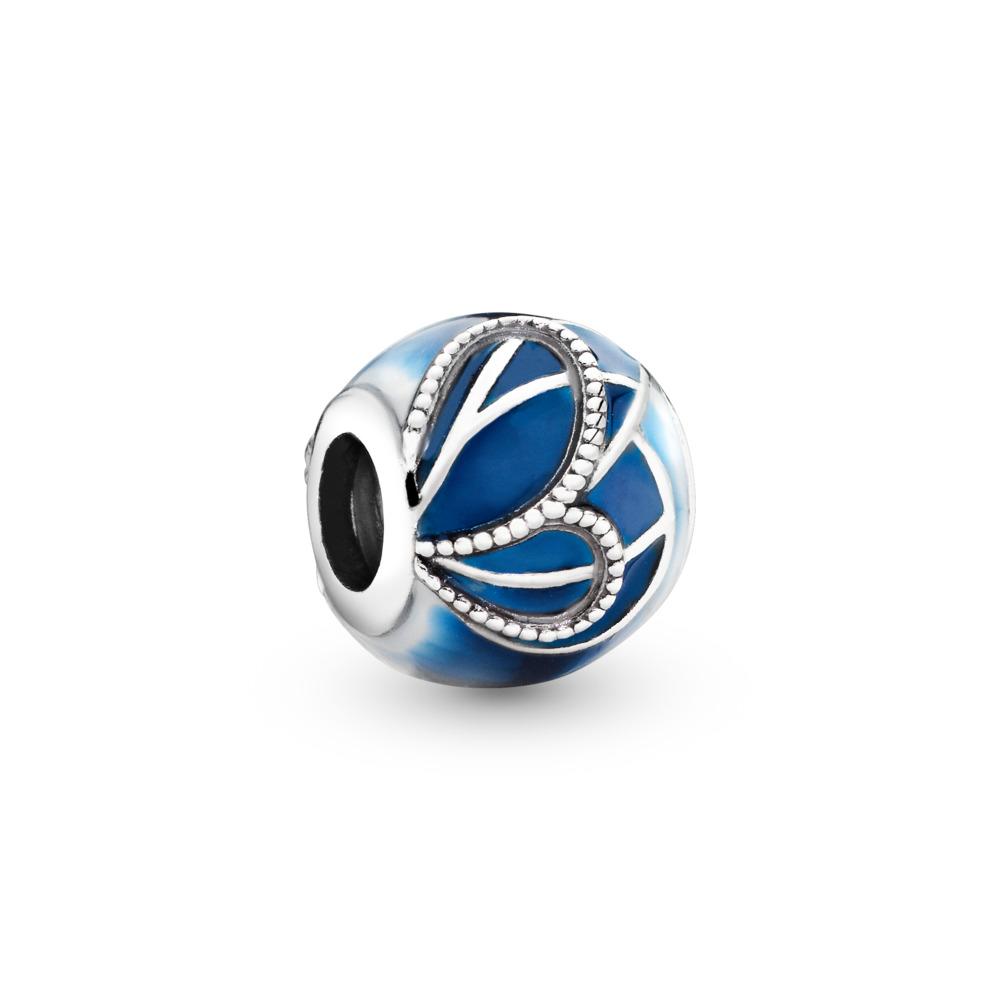Butterfly Wing Charm, Sterling silver, Enamel, Blue - PANDORA - #797886ENMX