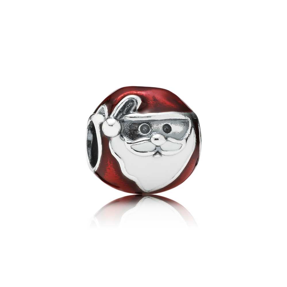 Jolly Santa Charm, Red & White Enamel