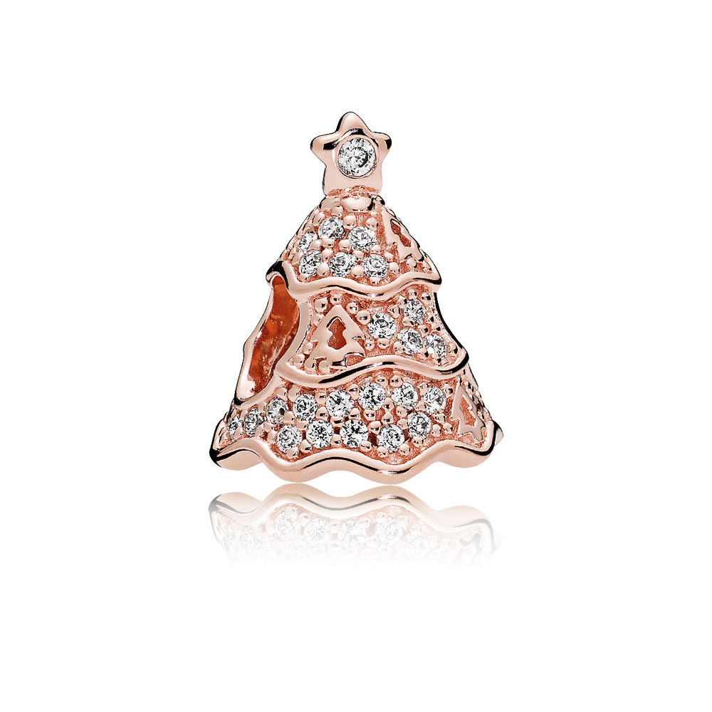 Twinkling Christmas Tree Charm, PANDORA Rose™ & Clear CZ